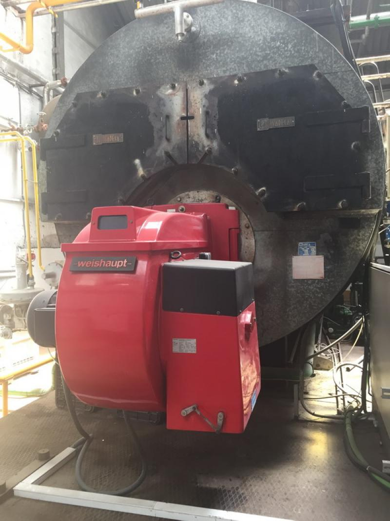 Instalación de vapor mediante caldera de 10 TN con quemador de 4.500.000 kcal para fabrica de envasado de conservas